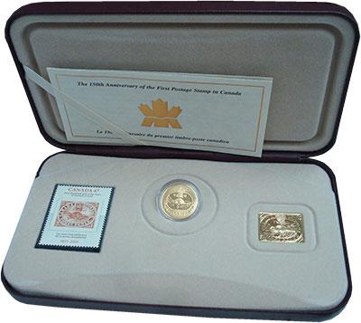 Изображение Подарочные монеты Канада 3 цента 2001 Серебро Proof 150 лет первой марки