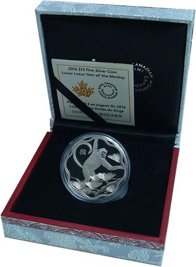 Изображение Подарочные монеты Канада 15 долларов 2016 Серебро Proof Год Обезьяны. Оригин