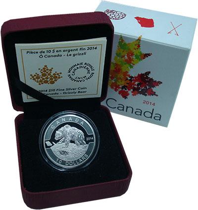 Изображение Подарочные монеты Канада 10 долларов 2014 Серебро Proof Гризли. Оригинальная