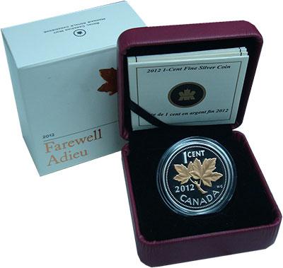 Изображение Подарочные монеты Канада 1 цент 2012 Серебро Proof Кленовый лист. Позол