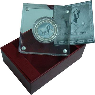 Изображение Подарочные монеты Ниуэ 1 доллар 2014 Серебро Proof Год лошади. Серебро