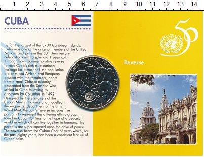 Изображение Подарочные монеты Куба 1 песо 1995 Медно-никель UNC Подарочный набор пос