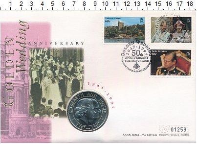 Изображение Монеты Теркc и Кайкос 5 крон 1997  UNC Елизавета II и Филип