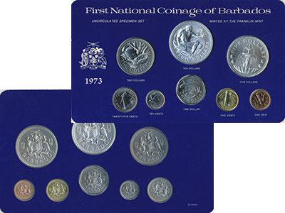 Изображение Подарочные монеты Барбадос Выпуск 1973 года 1973  UNC Представляем вам рег