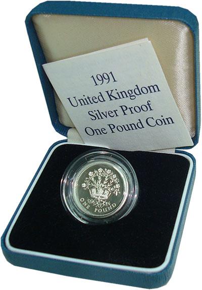 Изображение Подарочные монеты Великобритания 1 фунт 1991 Серебро Proof Елизавета II.  Расте