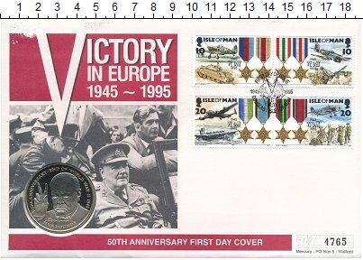 Изображение Подарочные монеты Остров Мэн 5 фунтов 1995 Латунь UNC Елизавета II.  50 -