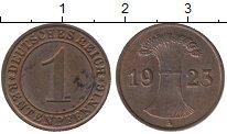 Изображение Монеты Германия Веймарская республика 1 пфенниг 1923 Бронза UNC-