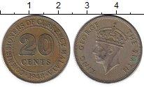 Изображение Монеты Великобритания Малайя 20 центов 1948 Медно-никель XF
