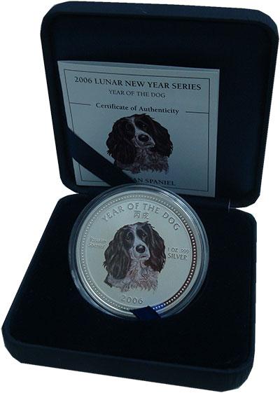 Изображение Монеты Камбоджа 3.000 риель 2006 Серебро UNC Год Собаки. Русская