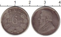 Изображение Монеты ЮАР 6 пенсов 1896 Серебро XF-