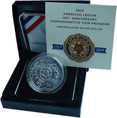 Изображение Подарочные монеты США 1 доллар 2019 Серебро UNC  100 лет Американско