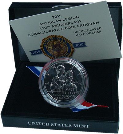 Изображение Подарочные монеты США 1/2 доллара 2019 Медно-никель UNC  100 лет Американско