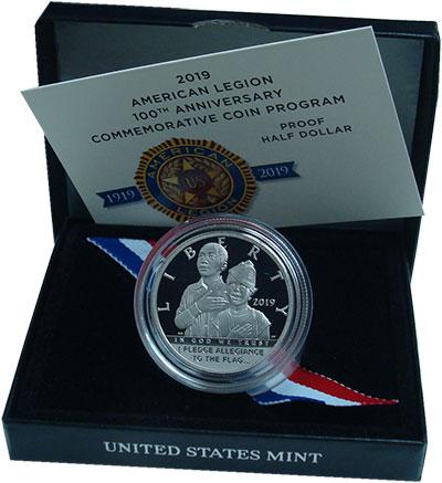 Изображение Подарочные монеты США 1/2 доллара 2019 Медно-никель Proof  100 лет Американско