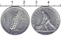 Изображение Монеты Италия 2 лиры 1950 Алюминий XF+