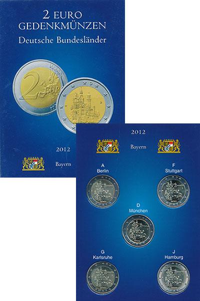 Изображение Подарочные монеты Германия Набор монет 2 евро 2012 Биметалл UNC Набор Федеральные зе