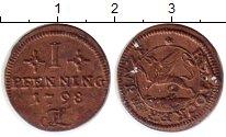Изображение Монеты Германия Росток 1 пфенниг 1798 Медь XF