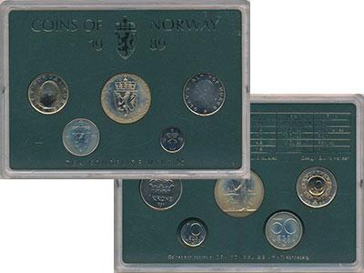 Изображение Подарочные монеты Норвегия Набор монет 1989 года 1989  UNC В набор входят четыр