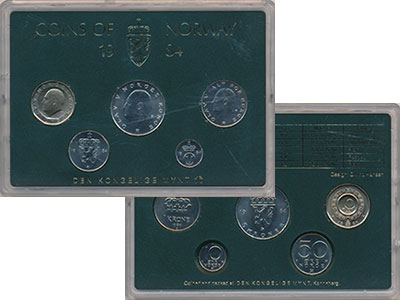 Изображение Подарочные монеты Норвегия Набор монет 1984 года 1984  UNC В набор входят пять