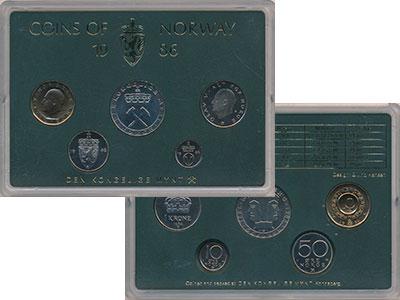 Изображение Подарочные монеты Норвегия Набор монет 1986 года 1986  UNC В набор входят пять