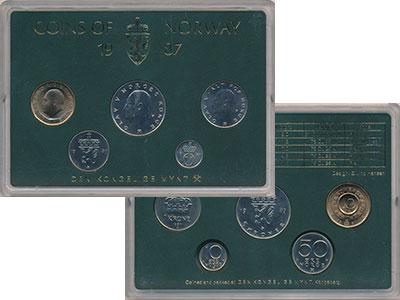 Изображение Подарочные монеты Норвегия Набор монет 1987 года 1987  UNC В набор входят пять