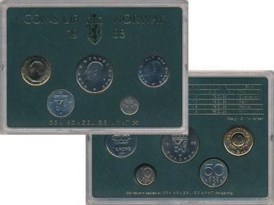 Изображение Подарочные монеты Норвегия Набор монет 1988 года 1988  UNC В набор входят пять