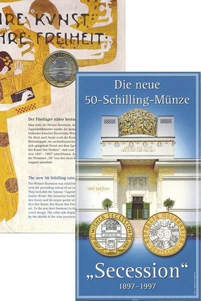 Изображение Монеты Австрия 50 шиллингов 1997 Биметалл UNC 100 лет Венского Сец