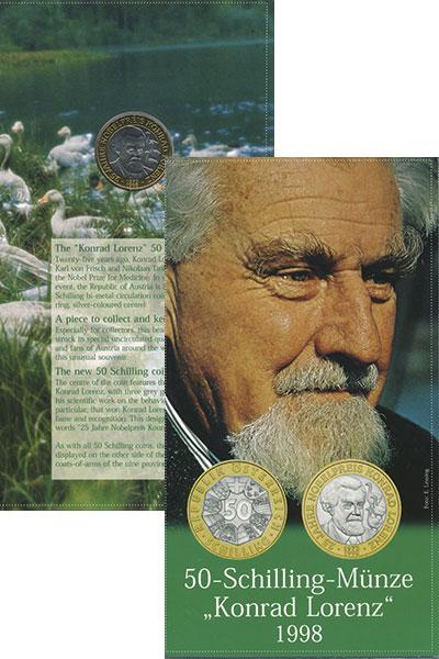 Изображение Подарочные монеты Австрия 50 шиллингов 1998 Биметалл UNC 25 - летие  Нобелевс