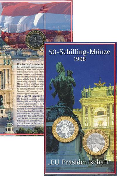 Изображение Монеты Австрия 50 шиллингов 1998 Биметалл UNC Председательство  Ав