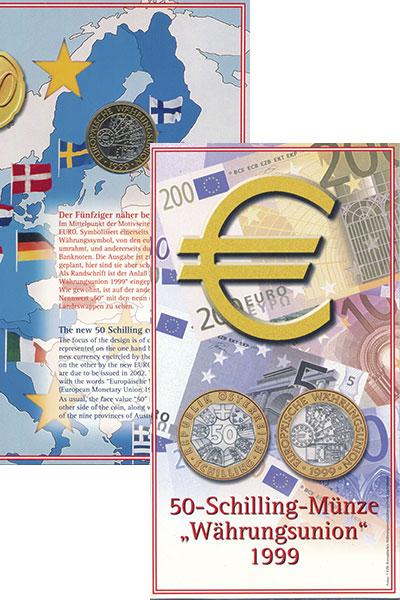 Изображение Монеты Австрия 50 шиллингов 1999 Биметалл UNC Европейский  валютны