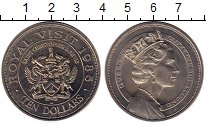 Изображение Монеты Сент Киттс-Невис 10 долларов 1985 Медно-никель UNC-