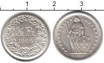 Изображение Монеты Швейцария 1/2 франка 1966 Серебро UNC-
