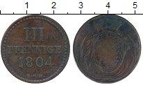 Изображение Монеты Германия Саксония 3 пфеннига 1804 Медь VF