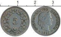 Изображение Монеты Швейцария 5 рапп 1911 Медно-никель XF