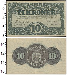 Изображение Банкноты Дания 10 крон 1947  XF-