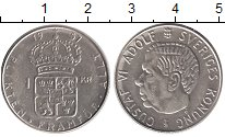 Изображение Монеты Швеция 1 крона 1957 Серебро UNC-