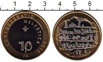 Монета Швейцария 10 франков Биметалл 2015 UNC фото