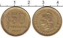 Изображение Монеты Аргентина 50 сентаво 1970 Латунь XF