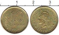 Изображение Монеты Аргентина 10 сентаво 1971 Латунь UNC-