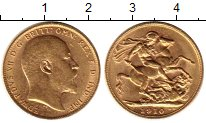 Изображение Монеты Великобритания 1 соверен 1910 Золото UNC