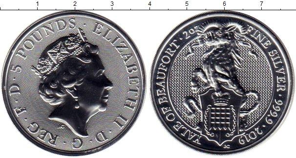 Картинка Монеты Великобритания 5 фунтов Серебро 2019