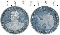 Изображение Монеты Антарктика 5 долларов 2011 Посеребрение Proof-