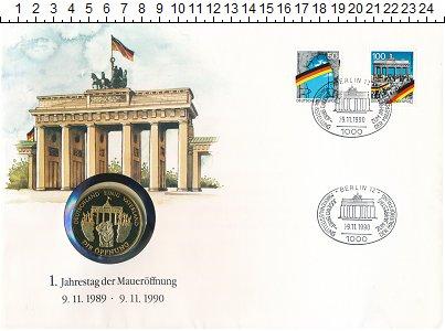 Изображение Подарочные монеты ФРГ Медаль 1989 Медно-никель UNC 50 лет Федеративной
