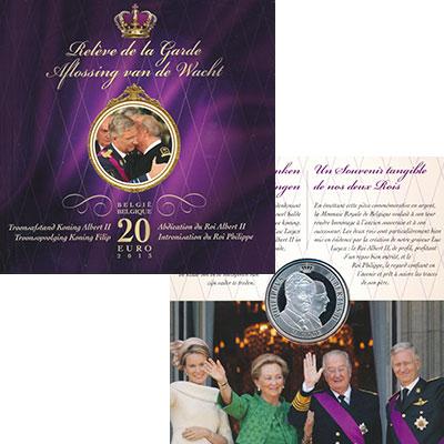 Изображение Подарочные монеты Бельгия 20 евро 2013 Серебро Proof Смена короля. Серебр