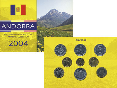 Изображение Подарочные монеты Андорра Набор 2004 года 2004  UNC