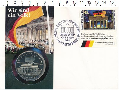 Изображение Монеты Маршалловы острова 5 долларов 1990 Медно-никель UNC Объединение  Германи