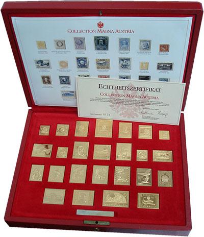 Изображение Подарочные монеты Австрия Почтовые марки в серебре 0 Серебро Proof- Красивый подарочный