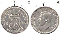 Изображение Монеты Великобритания 6 пенсов 1938 Серебро XF