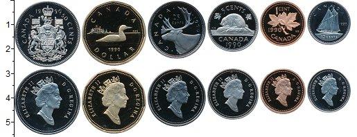 Изображение Наборы монет Канада Набор монет 1990 года 1990 Медно-никель Proof В наборе 6 монет ном