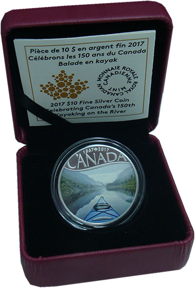 Изображение Подарочные монеты Канада 10 долларов 2017 Серебро Proof 150-летие, каякинг п