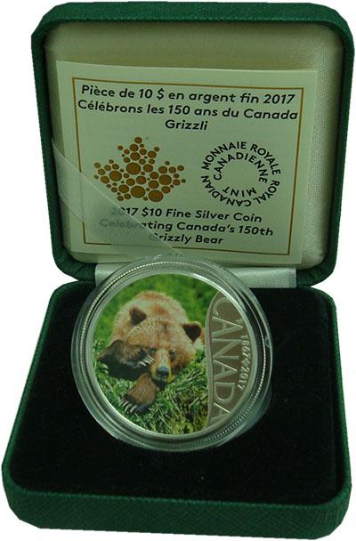 Изображение Подарочные монеты Канада 10 долларов 2017 Серебро Proof 150-летие, медведь Г